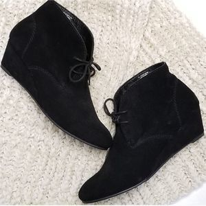 Nicole Black Lace Up Wedge Booties Size 8